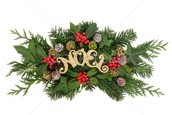 Gold Noel Floral Decoration Stock photo © marilyna