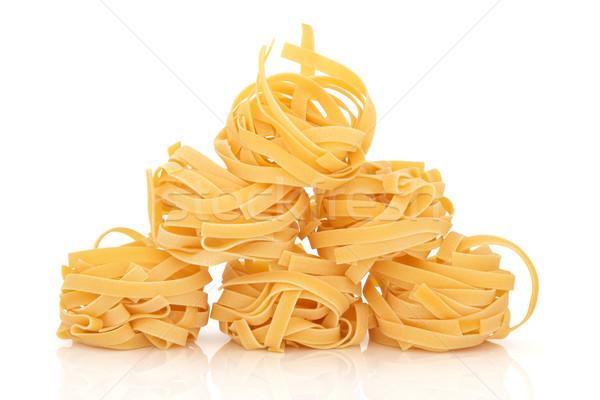 Tagliatelle pasta geïsoleerd witte spaghetti Stockfoto © marilyna