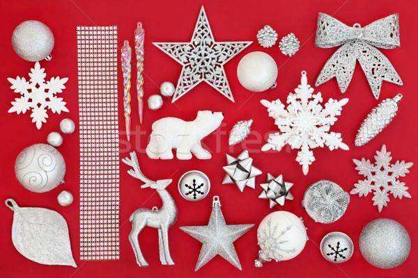 Christmas cacko dekoracje symbolika srebrny biały Zdjęcia stock © marilyna