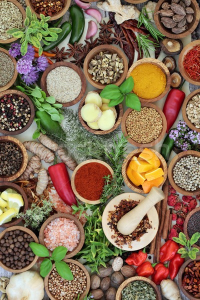 Stock photo: Fresh and Dried Herbs and Spices