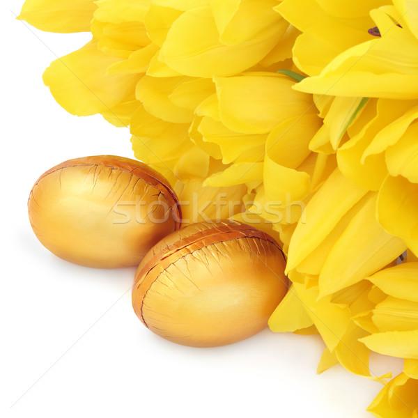 Paaseieren gouden Geel tulp bloemen witte Stockfoto © marilyna
