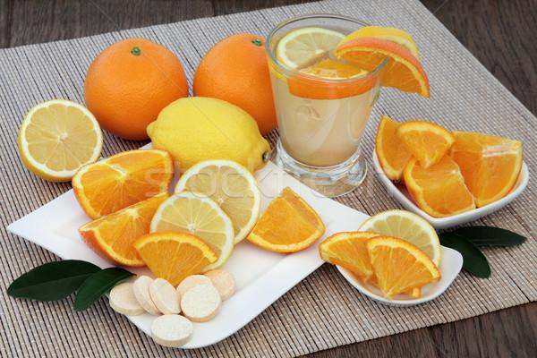 Foto stock: Laranja · limão · beber · frio · gripe · saúde