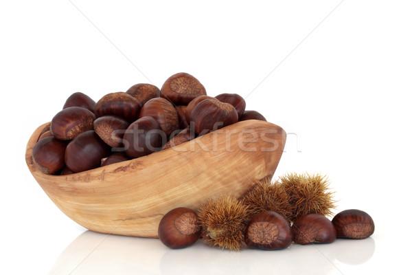 甘い 栗 フルーツ オリーブ 木材 ボウル ストックフォト © marilyna