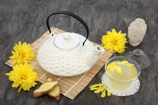 Krizantém virág tea távolkeleti teáskanna üveg Stock fotó © marilyna