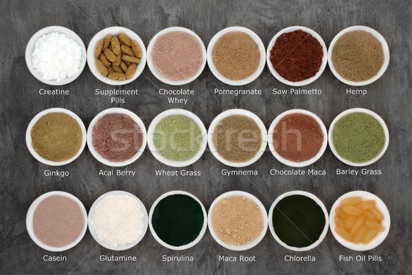 Stock fotó: Testépítés · kiegészítő · egészség · étel · porcelán · tálak