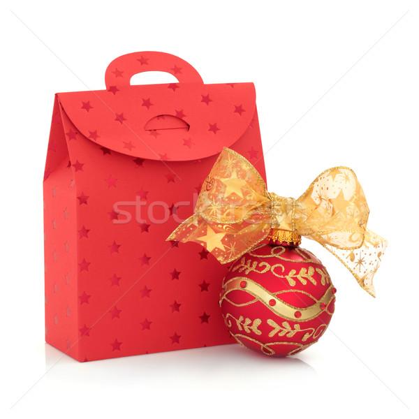 Рождества подарок сумку безделушка красный украшенный Сток-фото © marilyna
