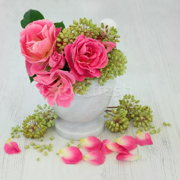 Naturelles phytothérapie rose semences marbre utilisé Photo stock © marilyna