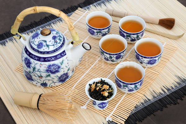 Stock fotó: Japán · tea · szertartás · teáskanna · csészék · levelek
