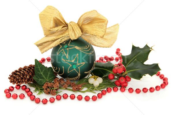 Vert babiole Noël arc gui Photo stock © marilyna