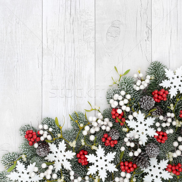 Stock photo: Christmas Snowflake Border