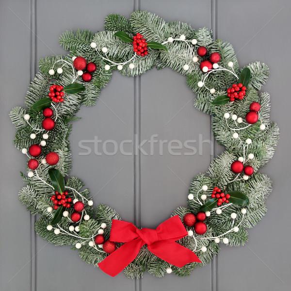 Weihnachten Aufkommen Kranz Dekoration rot Dekorationen Stock foto © marilyna
