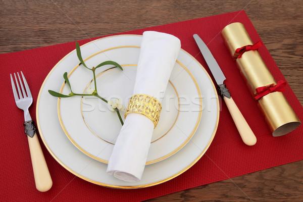 Noel yemek masası beyaz plakalar antika Stok fotoğraf © marilyna