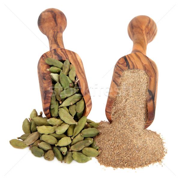 Kardemom Spice grond poeder olijfolie hout Stockfoto © marilyna