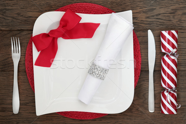 Contemporary Christmas Table Setting Stock photo © marilyna