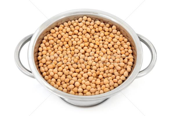 Stockfoto: Bonen · roestvrij · staal · geïsoleerd · witte · voedsel