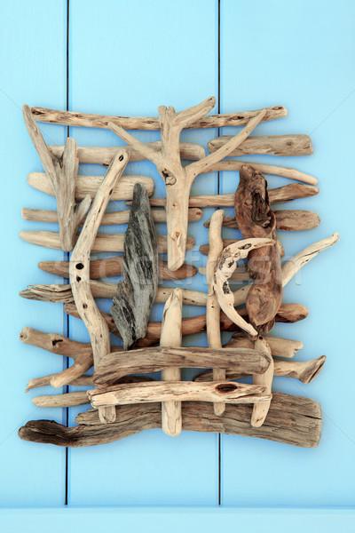 Uszadék kollázs absztrakt terv fából készült kék Stock fotó © marilyna