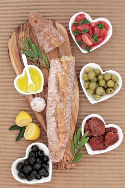Francia antipasti lakoma francia kenyér kenyér olajbogyó Stock fotó © marilyna