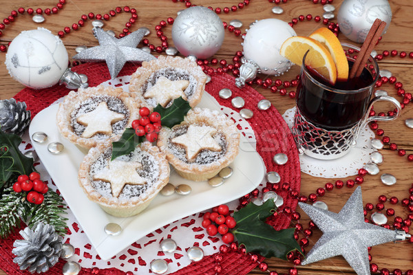 Stock photo: Mince Pies and Mulled Wine