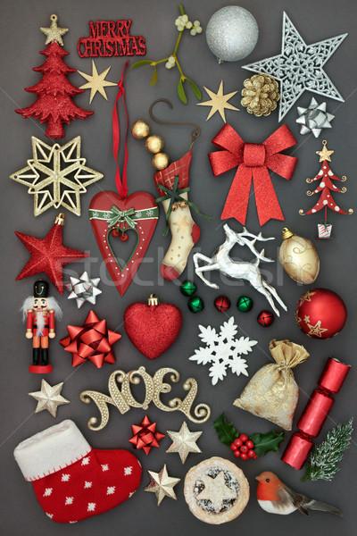 Heiter Weihnachten Symbole neue Spielerei Stock foto © marilyna