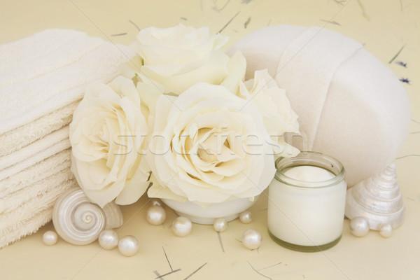 Rosa trattamento termale fiori bagno accessori crema Foto d'archivio © marilyna