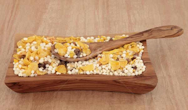 Gluténmentes müzli reggeli gabonapehely olajbogyó fa tál Stock fotó © marilyna