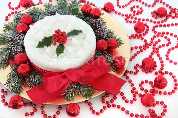 Karácsony torta cukormáz bogyók hó fedett Stock fotó © marilyna