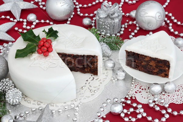 Traditional Iced Christmas Cake Stock photo © marilyna