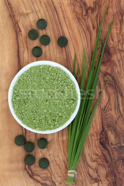 Здоровый образ жизни пшеницы трава оливкового древесины Сток-фото © marilyna