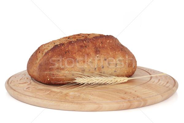 Teljes kiőrlésű kenyér cipó rusztikus fából készült tábla Stock fotó © marilyna