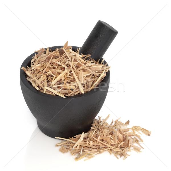 Ginseng herbe noir granit fond asian Photo stock © marilyna