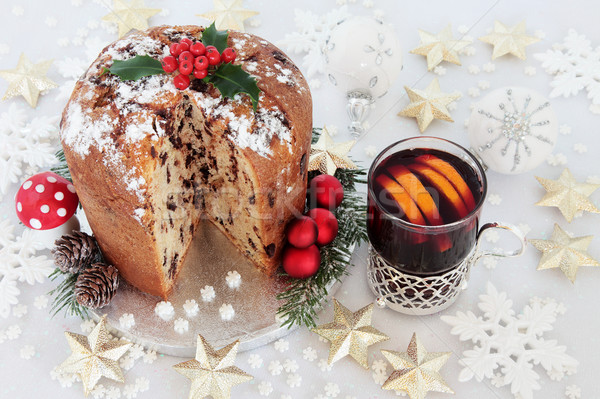 Chocolate Panettone Cake and Mulled Wine Stock photo © marilyna