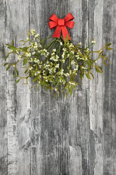 Maretak christmas bos Rood boeg rustiek Stockfoto © marilyna