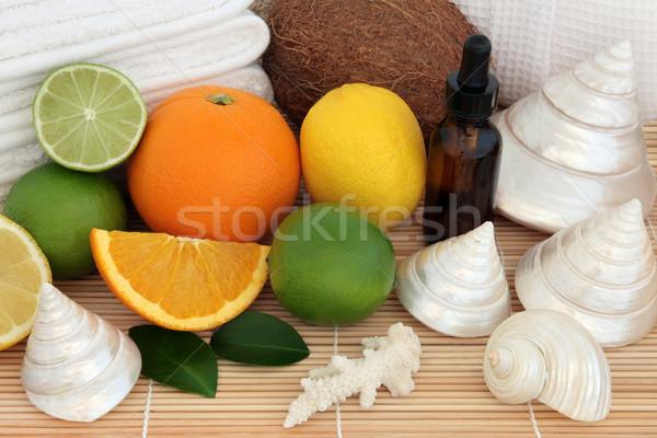 Tropische vruchten spa aromatherapie citroen kalk Stockfoto © marilyna