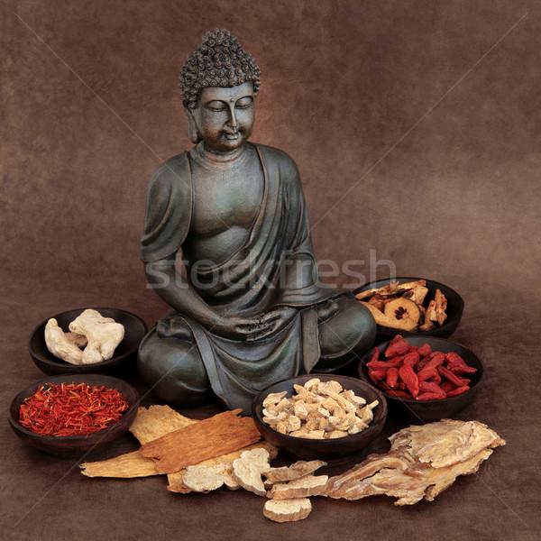 Medizin chinesisch Kräutermedizin buddha medizinischen Stock foto © marilyna