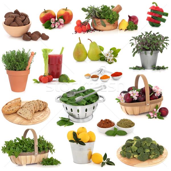 ストックフォト: 食品 · コレクション · 健康食品 · 高い · ビタミン · 孤立した