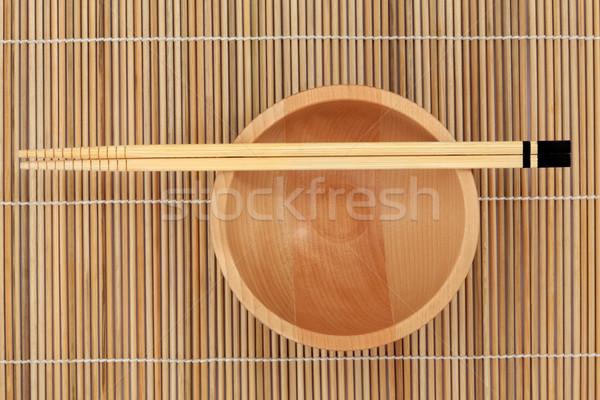 Çin yemek çubukları çanak Japon ahşap bambu Asya Stok fotoğraf © marilyna