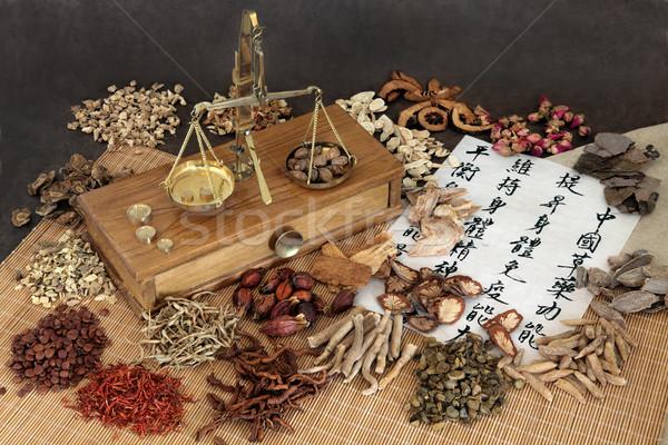 Foto stock: Chinês · ervas · erva · ingredientes · balança