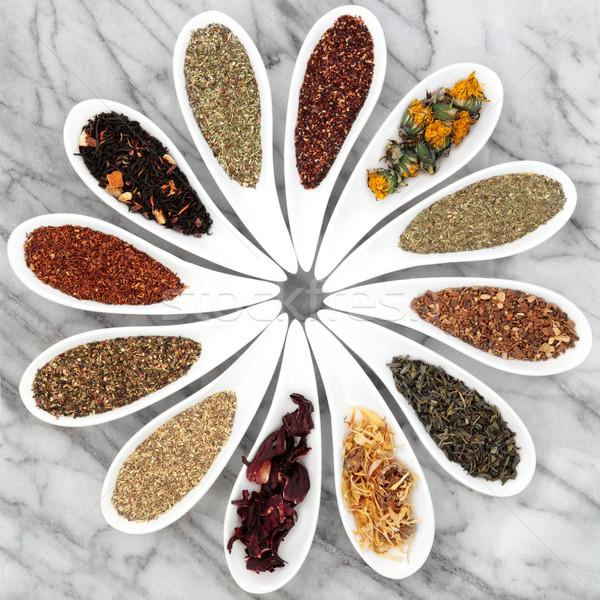 Zdjęcia stock: Herbata · ziołowa · biały · porcelana · dania · marmuru