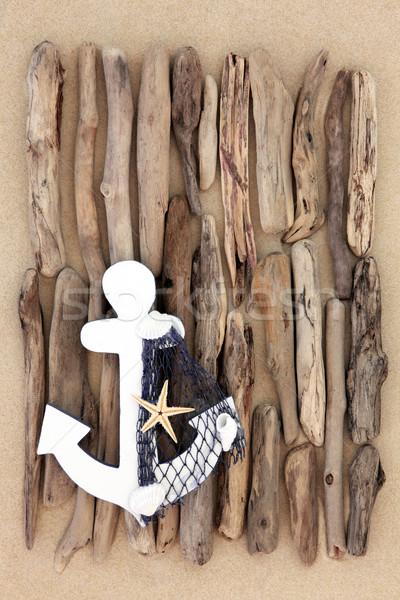 Ancora decorativo abstract driftwood design spiaggia di sabbia Foto d'archivio © marilyna
