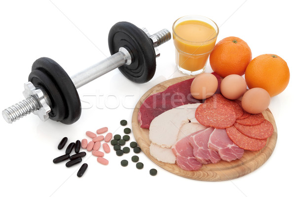 Body Building Equipment and Food Stock photo © marilyna