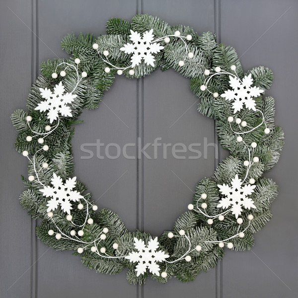スノーフレーク 花輪 装飾 クリスマス 白 雪 ストックフォト © marilyna