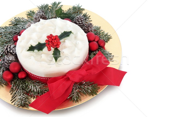 Traditioneel christmas cake Rood snuisterij decoraties Stockfoto © marilyna