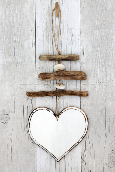 Rustic Driftwood Heart Mobile Stock photo © marilyna