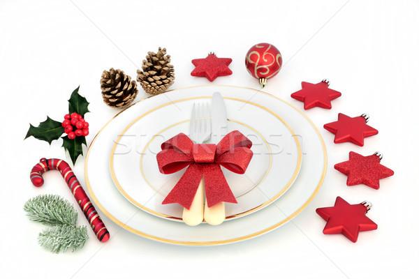 Stock fotó: Karácsony · vacsora · hely · porcelán · tányérok · piros