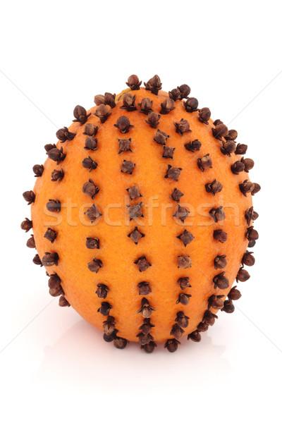Dente de alho laranja fruto de laranja tempero isolado branco Foto stock © marilyna