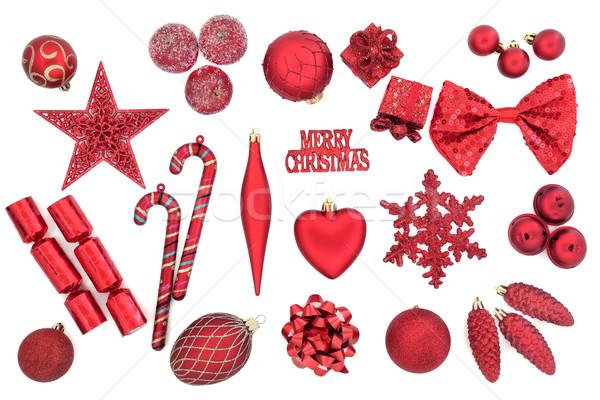 Christmas cacko dekoracje czerwony choinka biały Zdjęcia stock © marilyna