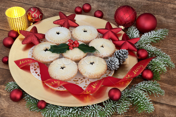 Christmas Mince Pies and Decorations Stock photo © marilyna