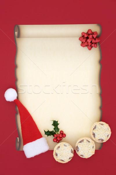 Stock fotó: Levél · mikulás · pergamen · papír · mikulás · kalap