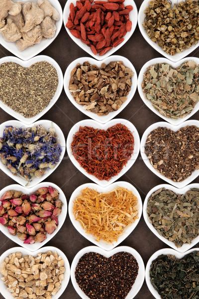 Chá medicinal coração flor Foto stock © marilyna
