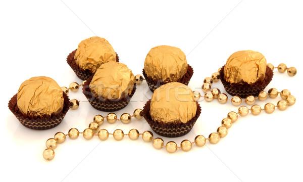 Gold Chocolate Balls Stock photo © marilyna